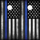 Cornhole Wraps Thin Blue Line Police Flag Cornhole Decals Set of 2 American Flag