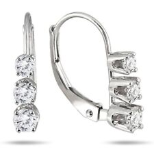 1/2CT Three Stone Natural Diamond Drop Earrings Solid 14KT White Gold