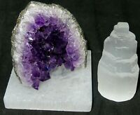 Home Protection Selenite Tower, Amethyst Cluster and Square Selenite Plate-Reiki