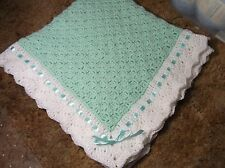 Christening Baby Blanket MINT GREEN White  Crochet Handmade Heriloom Boy Girl