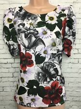 BNWT NEW 6 petite white floral front puffed short sleeved tunic blouse top