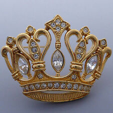 KENNETH JAY LANE KJL AVON GOLD PLATED CRYSTAL RHINESTONE ROYAL CROWN BROOCH PIN