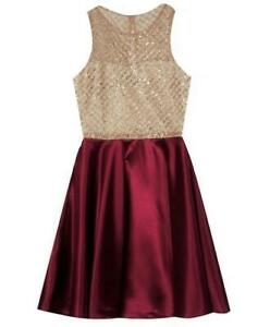 """NEW Rare Editions Size 10 Girls """"BURGUNDY RED SATIN GOLD GLITTER"""" Dress NWT"""