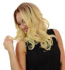 Blair Long Rooted Blonde Human Hair Blend Lace Front Wig | Wavy Natural Look Wig