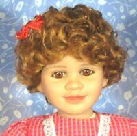 ZOEY Carrot Doll Wig Full Cap Sz 14-15, Mid-Length Curly, Bangs fits My Twinn