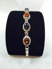 """Artisan Crafted 7-1/2"""" Sterling Onyx And Amber BraceletvFine J-7C+"""