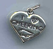 I Love Cheerleading Charm with Ring for Bracelet Sterling Silver