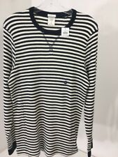 ABERCROMBIE & FITCH MEN'S STRIPED THERMAL LONG SLEEVE OFF WHITE/DARK NAVY SM NWT