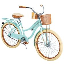 "Huffy Cruiser Bike w/ Basket 24"" Nel Lusso Bicycle for Girls Women Bikes, Mint"
