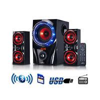 BEFREE SOUND 2.1 CHANNEL SURROUND SOUND BLUETOOTH USB/SD/SPEAKER SYSTEM w/REMOTE