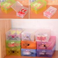 20 Pcs Clear Plastic Storage Foldable Shoe Organizer Boxes Stackable Tidy BOX