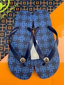 Tory Burch PVC Flip Flop Flops Thong Sandals Square Traveler Logo MANY SIZES