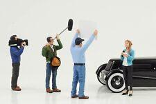 Figurine Camera Reporter Crew Racing Set 4 Pcs 1:18 American Diorama No Car