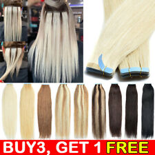 UK CLEARANCE Tape in Russian Remy Human Hair Extensions Skin Weft Blonde THICK