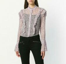 ZADIG & VOLTAIRE PINK TWEET GOA DITSY FLORAL RUFFLE TRIMMED CHIFFON BLOUSE SZ.S