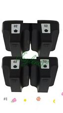 4pk 02 Ink Cartridge Black For HP 02 Photosmart C7280 3310 D7360 D7160  8250