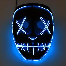 LED Kostüm Horror Maske blau Party Halloweenmaske Kostüm Cosplay Purge fasching