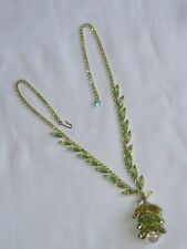 D&E Juliana Rhinestone Necklace Jewelry Green Vintage Navette Crystal (ab2405)