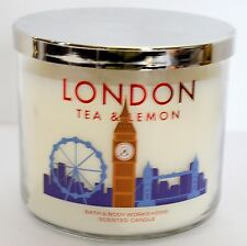 2 London Tea Lemon Sugar Bath & Body Works Destination 3 Wick Jar Pillar Candle