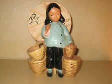 Vintage McCarty California Pottery Figurine Asian Girl with Basket, 1945