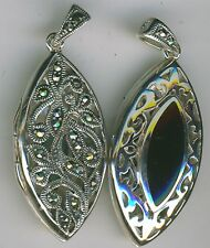 Sterling Silver Black Onyx & Marcasite Reversible Locket Pendant Length 1.3/4""