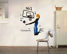 Basketball Sports Removable Wall Stickers Decals Home art Decor Deco Mural kids