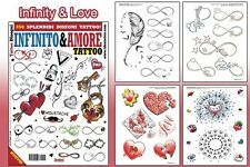 INFINITY & LOVE Tattoo Flash Design Book 64-Pages Sketch Black Color Art Supply