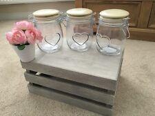 Cute Cream Heart Ceramic Tea Coffee Sugar Storage Jars Shabby Chic