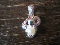 sehr edler geschmackvoller Anhänger Schlange mit Perle massiv 925er Silber NEU