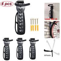4PCS Black Bicycle Bike Wall Mount Hook Hanger Garage Storage Holder Rack Stand