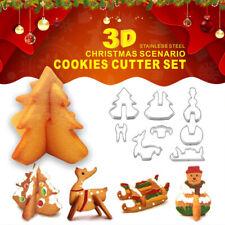 8 pièces en acier inoxydable moule à biscuit de Noël 3D emporte-pièce moule