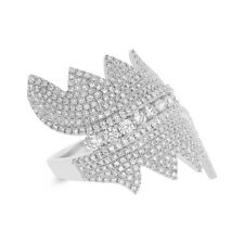 Womens 1.28CT 14K White Gold Round Diamond Pave Fashion Cocktail Right Hand Ring