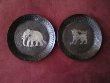 Antique 1920s Siam silver Niello work on copper nielloware dishs Qilin Elephant
