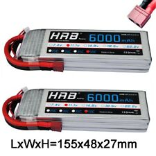 2x HRB 11.1V 3S 6000mAh RC Lipo Battery 50C 100C Deans For Helicopter Airplane