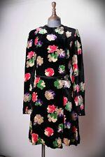 VINTAGE DECO 30'S 40'S DICKENS & JONES FLORAL VELVET  DRESS COAT COATEE WRAP  12