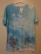 H&M Boys T-shirt with Palms Print Top 12-14 Years BNW Turquoise Uk Freepost