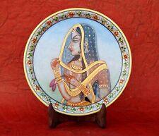 Marble Handicraft Plate Rajasthani Women Bani Thani Tribal Ethnic Hand Painted