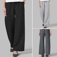 ZANZEA Femme Pantalon Loisir Ample Taille elastique Poches Jambes larges Plus