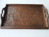 Wooden big special handcarved serving tray coffe tea breakfast plate brown