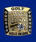 HOLE IN ONE GOLF RING 24K GOLD PLATED SIZE 11 MAKES A GREAT PRESENT MAN OR WOMAN