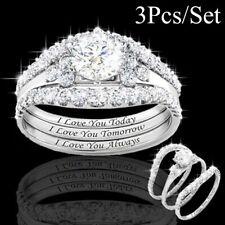 3Pcs Classic Bright Woman Diamond Silver Natural Sapphire Ring UK!