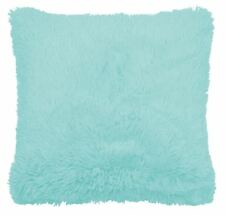 """FILLED SUPERSOFT FAUX FUR DUCK EGG BLUE THICK FLUFFY CUSHION COVER 18"""" - 45CM"""
