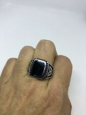 Vintage Black Onyx Silver Stainless Steel Size 10.25 Ring