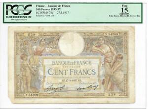 France 1937 100 Francs P78c PCGS F15 Apparent