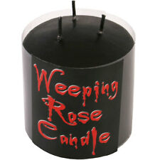 Gothic Weeping Rose Black Triple Wick Bleeding When Lit Candle Wiccan Pagan SM
