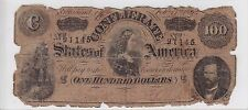 February 17th, 1864 Confederate States of America $100 Note T65 Cr#490 91145
