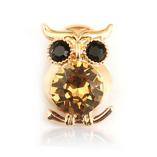 14k Gold Plated Diamond Simulant Golden Owl Brooch Pin Wth Swarovski Elements