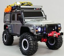 For Traxxas TRX-4 DEFENDER FRONT METAL Bumper BULL NOSE + WINCH Aluminum BLACK