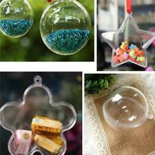 Clear Plastic Ball Fillable Ornament Hollow Hanging Christmas Xmas SL
