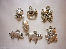 Pig Tibetan Silver Charm set Love Heart Wings DIY Jewellery Craft Scrapbooking